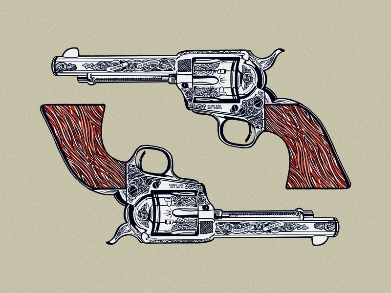 Dual Wielding western cowboy pistol revolver gun design branding graphic illustration