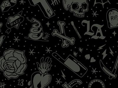A spooky batch of flash illustrations lockup branding fridaythe13th rip skull and crossbones rose snake flask skull tattoo design flash tattoo graphic logo illustration