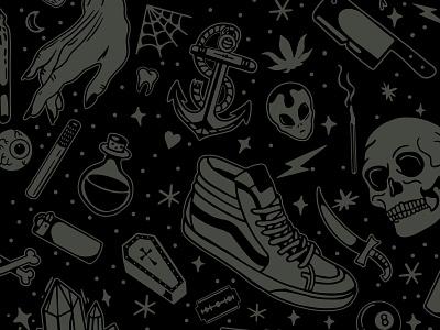 A spooky batch of flash illustrations design coffin knife skull and crossbones skull flash tattoo badge lockup branding graphic logo illustration