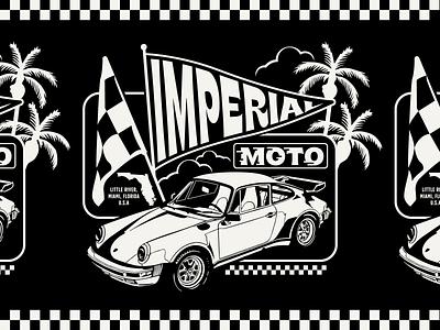 Imperial Moto Cafe porsche 911 car palmtree flag race design badge lockup branding graphic logo illustration