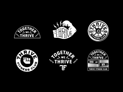 Thrive Sticker Pack lifting weights lightning bolts fist muscle fitness typography design illustration graphic tshirt type badge branding identity lockup logo