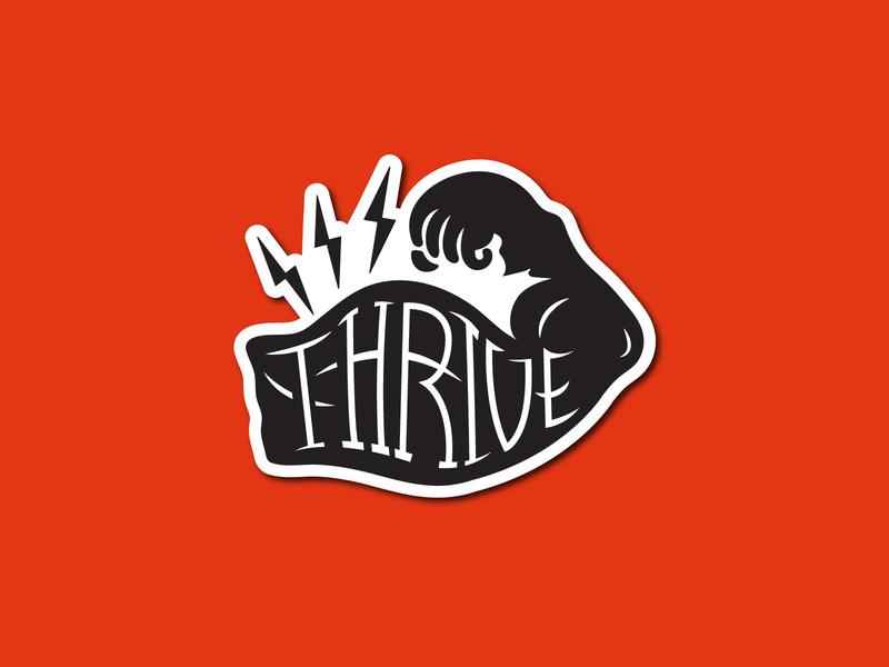 Thrive Fitness Club Sticker lightning muscle design graphic illustration branding lockup logo