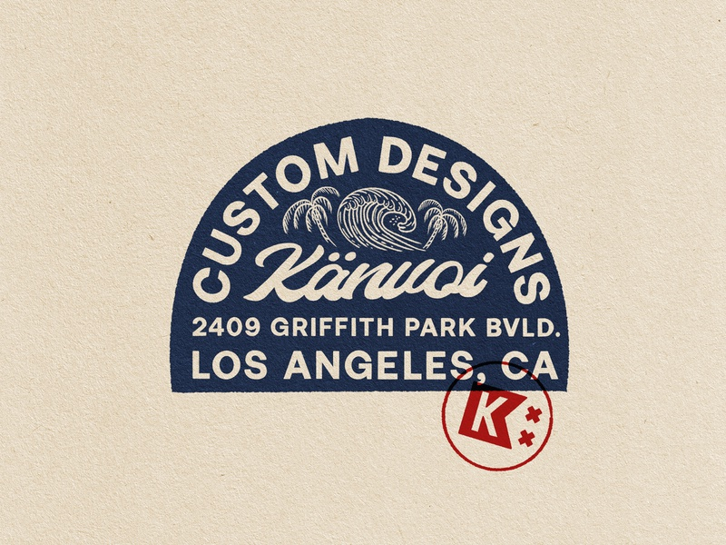 Custom Designs at Känvoi Company losangeles palm trees waves surf california typography badge graphic illustration identity branding lockup logo