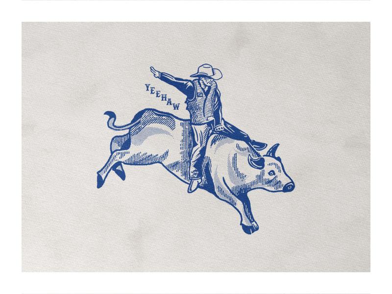 Y E E H A W ! type bull cowboy rodeo vintage branding illustration