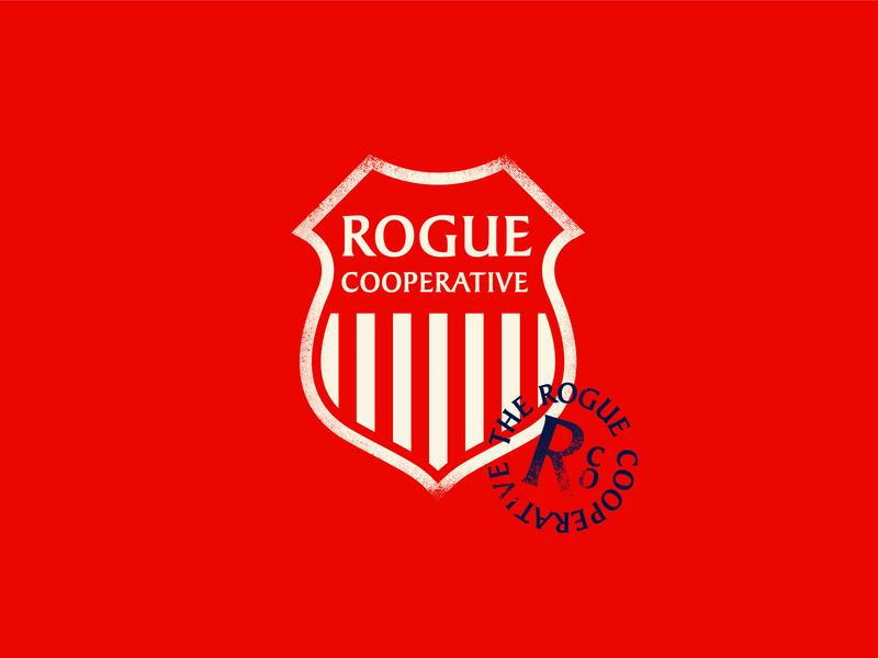 The Rogue Cooperative Shield Lock-up vintage design typography type badge graphic illustration identity branding lockup logo