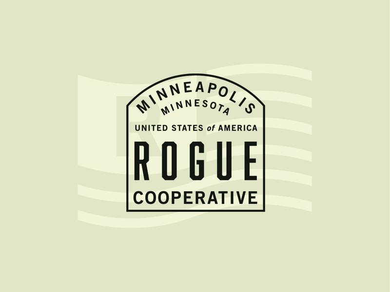 The Rogue Cooperative Lock-up usa america flag vintage design typography type badge graphic illustration identity branding lockup logo