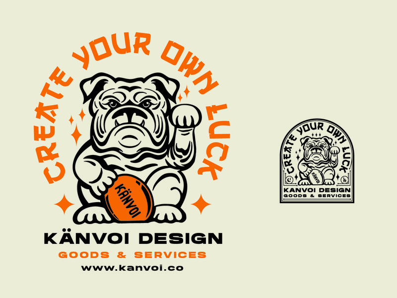Create Your Own Luck graphic badge lockup lucky cat bulldog