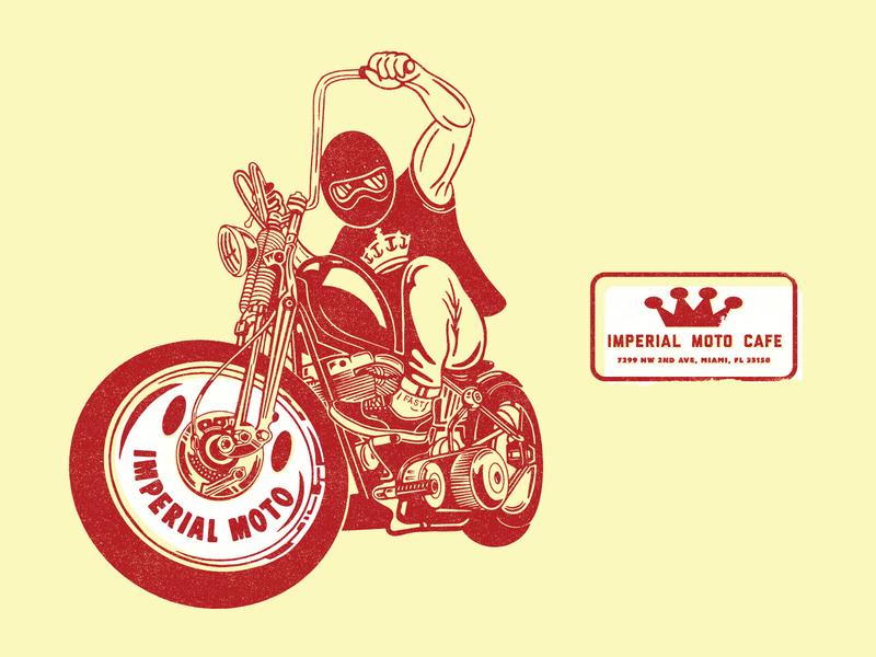 Imperial Moto badge identity branding lockup logo coffee shop vintage crown smily motorcycle illustration coffee