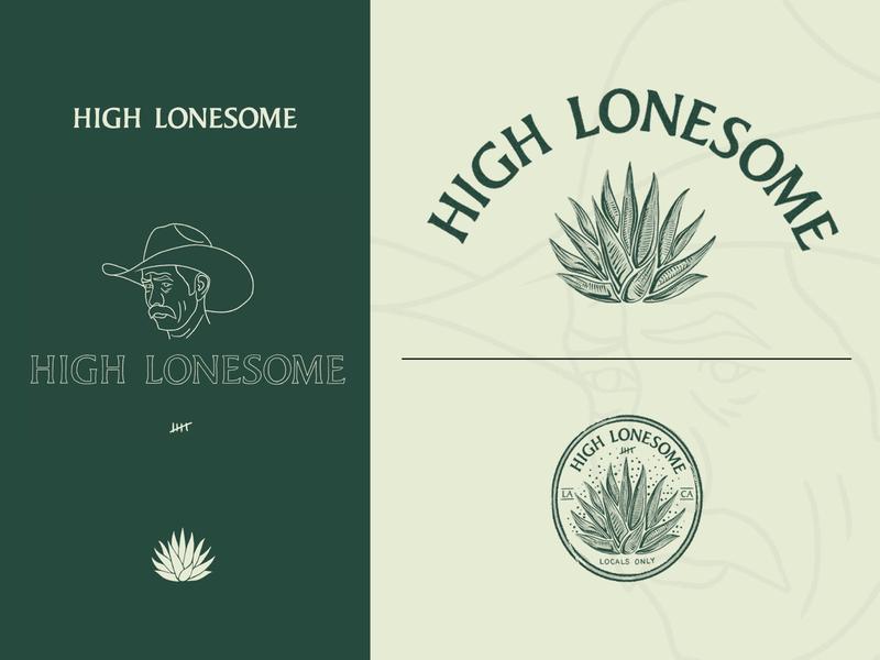 High Lonesome Branding liquor agave design typography graphic badge illustration identity branding lockup logo