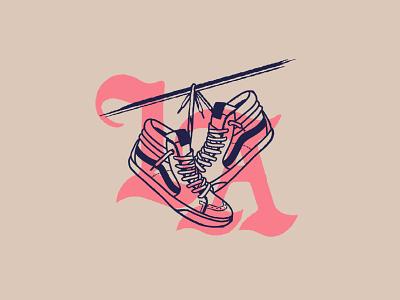 LA Sneakers vans typography icon type design identity badge branding graphic lockup illustration