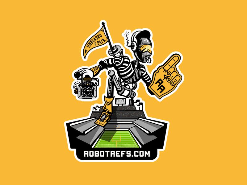 Robot Ref sticker typography type identity design badge branding graphic lockup illustration logo