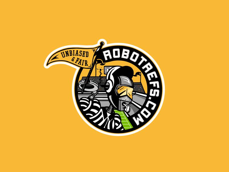 Robot Ref Badge referee identity design badge branding graphic lockup illustration logo
