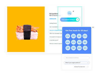 CTA Exit Pop-up + Simple Form (Digital Agency ~ Harmony) help page contrast gradients sushi cat buttons next switch ui elements user interface emoji smiley pop-up window exit pop-up cta button cta form elements form