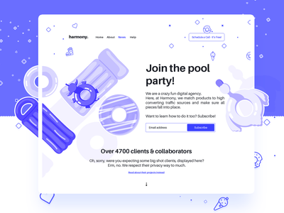 Home Page Design ui elements collaboration inflamable balloon pool party party presentation subscribe form illustrations user interface icons landing page hero website digital agency