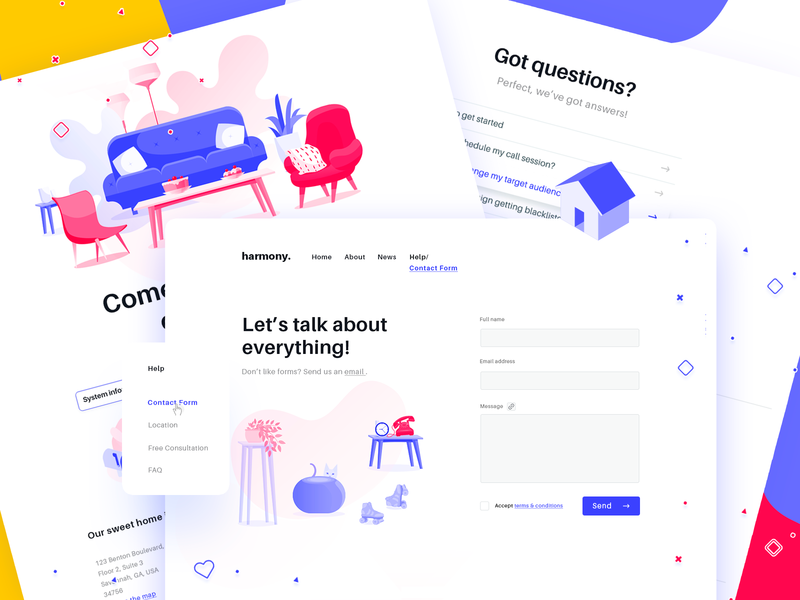 Contact & Help Pages crista decoration furniture house attachment office location footer faq drop-down menu isometric icons illustrations digital agency web design user interface user experience form contact