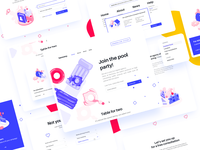 Landing Page (Full page attachment) user research target audience options house dropdown digital agency full website exit promo pop-up menu shapes icons isometric illustration user interface user experience interaction services subscribe form collaboration