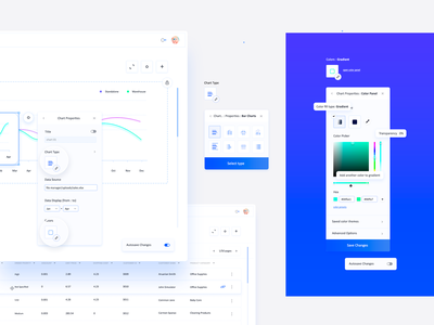 Chart Properties : Color Panel (Business Analytics Application) ux application ui data source data visualization hex color code hex color gradient zoom tooltip color picker autosave properties settings panel menu options visualizations charts business analytics