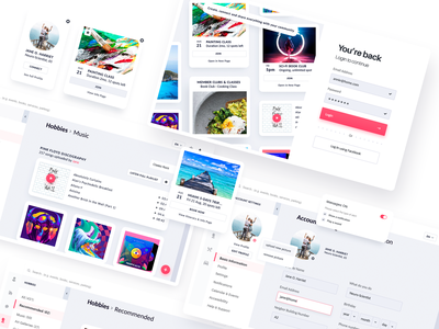 Neighbor.app : Community App for Seniors categories notifications social app travel music card style user settings login color theory product design ui ux qualitative research user research target audience user persona connect community web app senior app