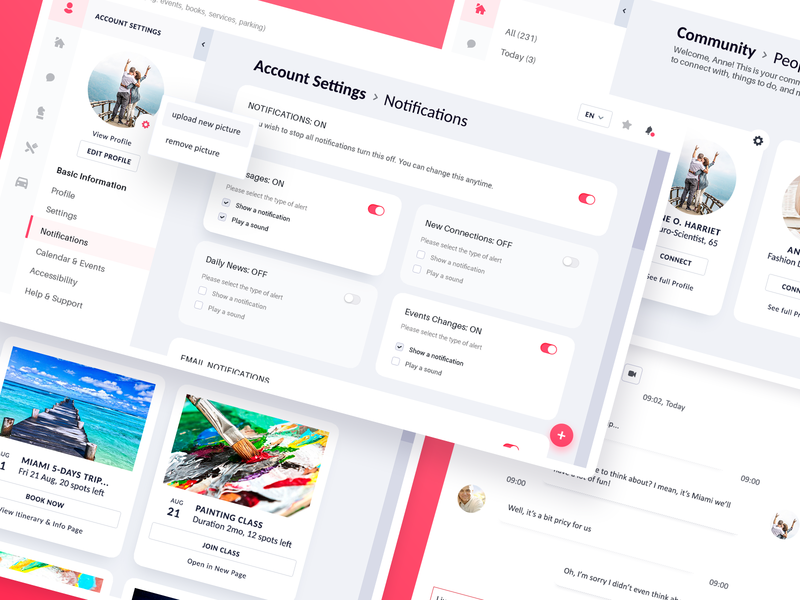 Neighbor.app : Community & Settings Panels activity events left-side menu categories ui elements dashboard application card style product design ux ui design uxd social communication community settings profile notifications