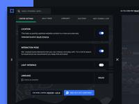 Live game streaming platform : Menu & Options user settings language slide menu contact help dark interface light interface toggle switch settings ui tabs website gaming platform options menu interaction