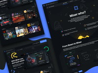 🎮 Mixer Website Exploration dark interface website dota2 video cards contact about platform stream live gaming illustration presentation landing page user interface user experience