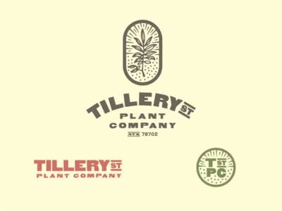 Tillery St Plant Company woodblock branding logo leaves plant