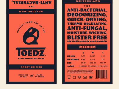 Toedz Branding branding packaging toedz toad toes socks