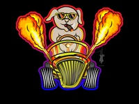 dog drive with fire cartoon