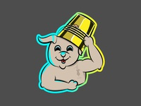 happy dog  with gold bucket hats