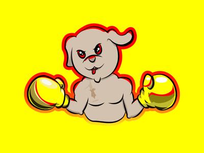 boxing dog cartoon
