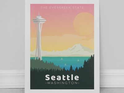The Evergreen State evergreen sunset mountains print design digital illustration flat artwork minimal vector illustration design seattle met washington northwest pacific northwest pnw seattle