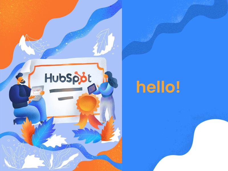 Illustration for Marketing Agency welcome marketing hubspot precreate iliustration