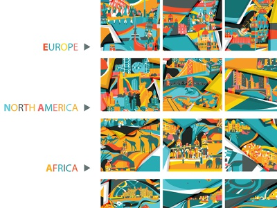 Dublin Airport and all destinations colliage countries continents editorial illustration aeronautical airport planes