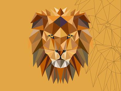 polygon lion animal design mascot illustration vectorart adobe illustrator illustrator cartoon vector polygon lion