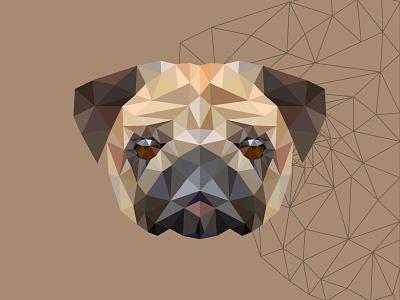 polygon pug animal design mascot illustration vectorart adobe illustrator illustrator cartoon vector polygon pug