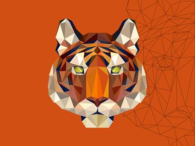 polygon tiger animal design mascot illustration vectorart adobe illustrator illustrator cartoon vector polygon tiger