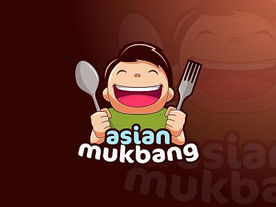 Asian Mukbang logo logo cartoon design mascot vectorart adobe illustrator illustrator vector