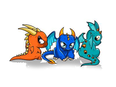 dragons adorable animal vectors mascot illustration vectorart adobe illustrator cartoon illustrator vector