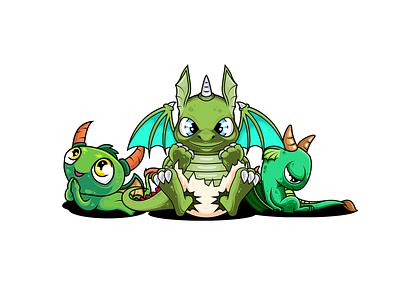 green dragons animal vectors design mascot illustration vectorart adobe illustrator cartoon illustrator vector