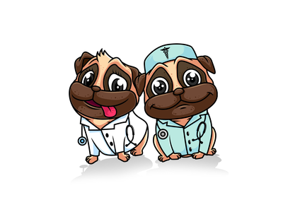 medical pugs pug animal vectors mascot illustration adorable adobe illustrator cartoon illustrator vector
