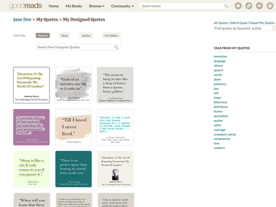 Visual quotes' editor - Goodreads adding feature web ui ux