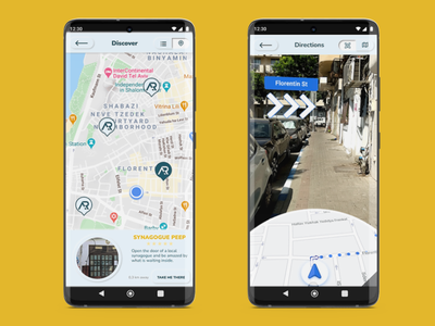 AR app - map view and AR directions neumorphism ui directions map view augmented reality app ux ui