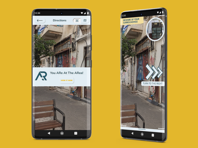 AR app - reaching a geo tagged location instructions augmented reality geo-tag neumorphism ux ui