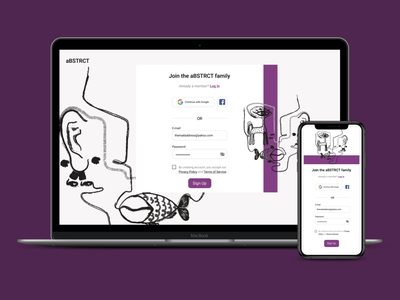 UI challenge - Sign Up page sign up screen absurd illustrations abstract ui challenge sign up design ui