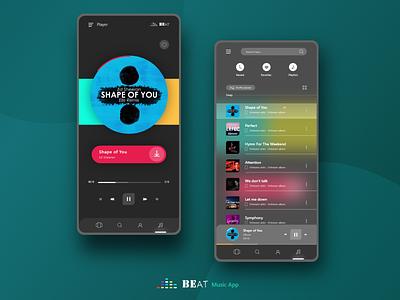 Beat - music player app. clear music app trend 2020 minimal clean adobexd color creative ui creative design concept ux uxdesign