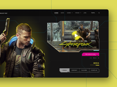 Cyber punk 2077  - web page design games gameui game 2020 new hot color 2020 trend uxdesign creative design design adobexd ux ui concept landing page ui creative clean 2077 cyberpunk