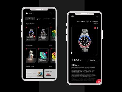 Dark E-Commerce Store Theme prodesign apple iphone app appdesign ecommerce trend 2020 clean color adobexd landing page ui creative ui creative design concept uxdesign ux