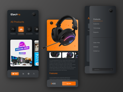 Electro - E commerce app elegant best desgin 2021 top deisgn app ui deisgn trend 2020 cool headphone app design clean color adobexd creative creative design ui uxdesign ecommerce app ecommerce