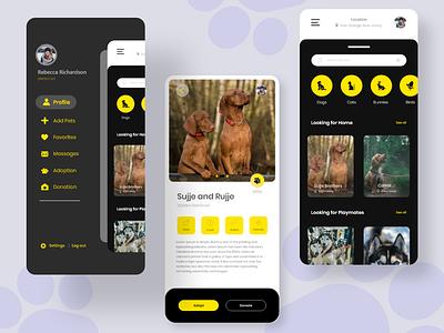 Pet adoption App - UI concept popular shot popular cool bunny cat dog people app design appui addoption pet color 2020 clean adobexd concept creative creative design ux ui