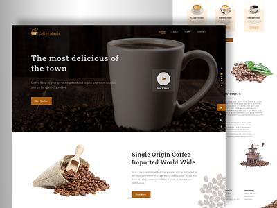 Web Design For Coffee shop coffeeshop coffee creative uxdesign landingpage design 2020 clean adobexd concept creative design ui